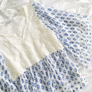white blue patterned blouse